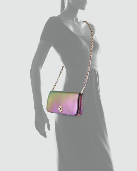 Adalyn Metallic Clutch Bag, Green Hologram