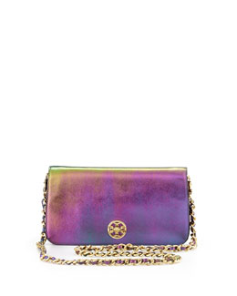 Tory Burch Adalyn Metallic Clutch Bag, Green Hologram
