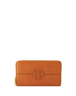 Tory Burch Stacked Continental Zip Wallet, Vachetta