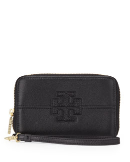 Tory Burch Stacked T Zip Smart-Phone Wallet, Black