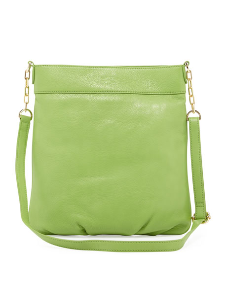 Stacked-T Leather Book Bag, Fiji Green