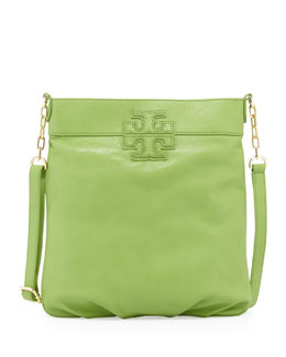 Tory Burch Stacked-T Leather Book Bag, Fiji Green
