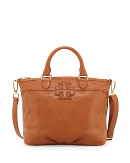 Tory Burch Small Stacked-T Leather Satchel Bag, Vachetta