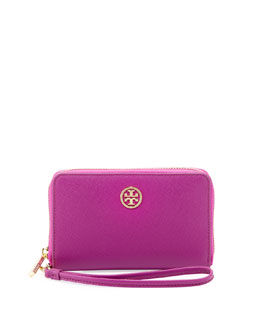 Tory Burch Robinson Smart-Phone Wristlet Wallet, Royal Fuchsia