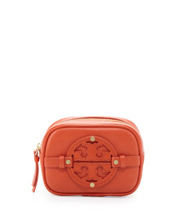 Tory Burch Holly Classic Leather Cosmetic Case, Blood Orange
