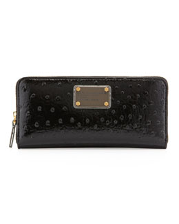 MARC by Marc Jacobs Classic Q Ostrich-Embossed Slim Zip Wallet, Black