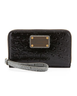 MARC by Marc Jacobs Classic Q Wingman Wristlet Zip Wallet, Gray/Black