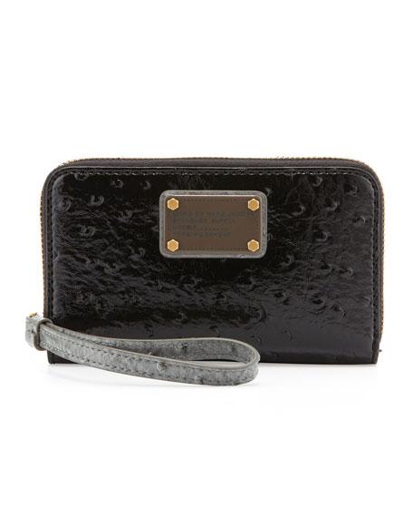 Classic Q Wingman Wristlet Zip Wallet, Gray/Black