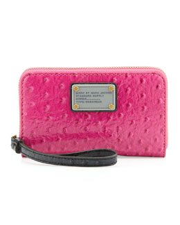 MARC by Marc Jacobs Classic Q Wingman Wristlet Zip Wallet, Pop Pink