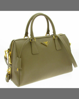 Prada Saffiano Medium Lux Boston Satchel, Light Beige (Sabbia)