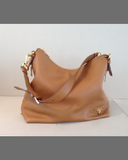 Prada Large Zip-Top Hobo Bag, Camel (Noset)