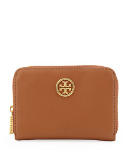 Tory Burch Robinson Zip Coin Case, Brown