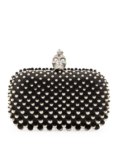 Pearly Skull-Clasp Clutch Bag, Black