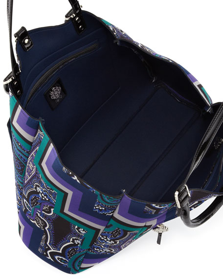 Lombardo Large Paisley Neoprene Tote Bag, Purple