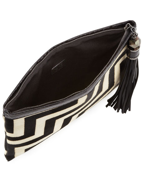 Celia Large Calf Hair Clutch Bag, Black/White