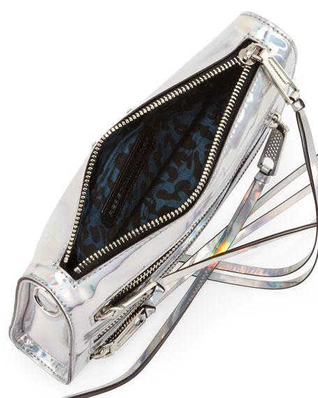 Five-Zip Mini Holographic Crossbody Bag, Platinum