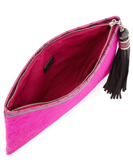 Celia Large Calf Hair Clutch Bag, Fuchsia