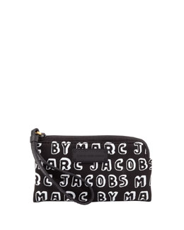 MARC by Marc Jacobs Logo Zip Smart Phone Wristlet Case, Black
