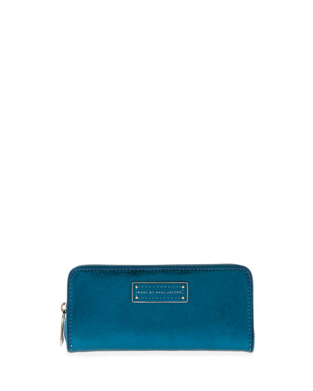 Too Hot to Handle Slim Zip Wallet, Metallic Blue