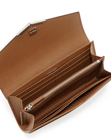 V-Flap Continental Organizer Wallet, Barley