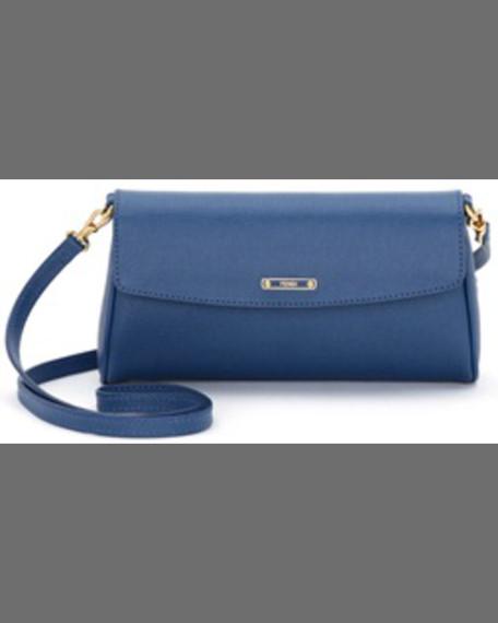 Vitello Elite Leather Flap Crossbody Bag, Black