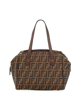 Fendi Medium Zucca Double-Zip Tote Bag, Tobacco