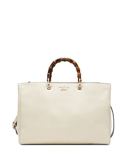 Gucci Bamboo Leather Shopper Tote Bag, Mystic White
