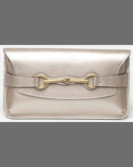 Gucci Bright Bit Calfskin Clutch Bag, Dark Shell Gold