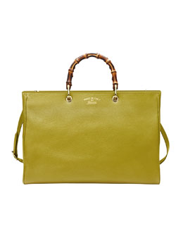 Gucci Bamboo Large Leather Shopper, Cardamom Green