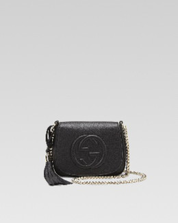 Gucci Soho Leather Chain Shoulder Bag, Blue Navy