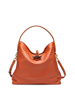 Gucci Hip Bamboo Leather Shoulder Bag, Rust Burnt Orange