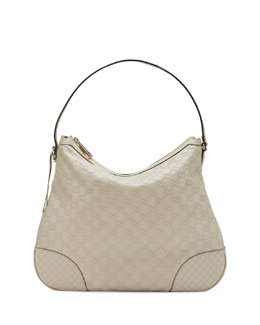 Gucci Bree Guccissima Leather Hobo Bag, Mystic White