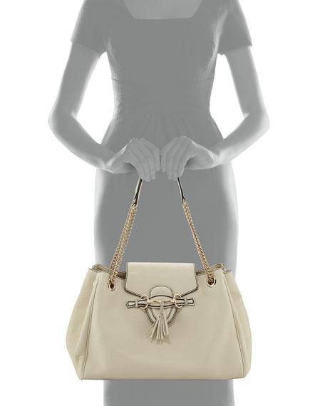 Emily Leather Shoulder Bag, Mystic White