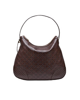 Gucci Bree Guccissima Leather Hobo Bag, Chocolate