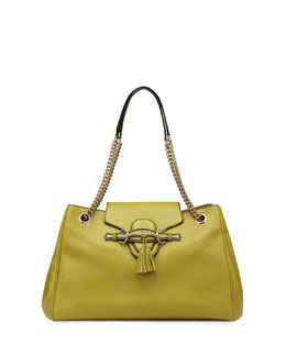 Gucci Emily Large Leather Shoulder Bag, Chartreuse Green