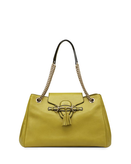 Emily Leather Shoulder Bag, Chartreuse Green