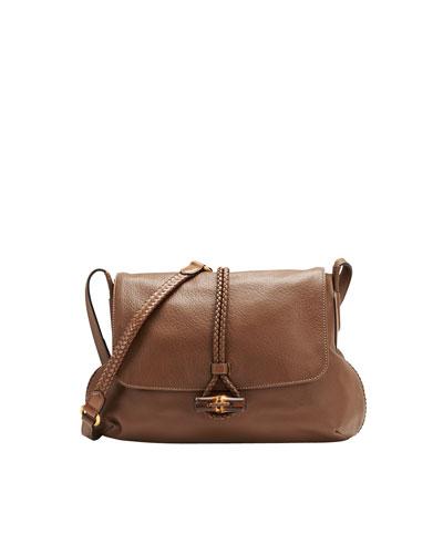 Gucci Hip Bamboo Leather Flap Shoulder Bag, Acero Mushroom
