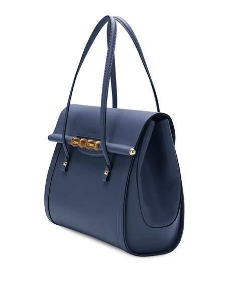 Leather Top Handle Bag, Uniform Blue