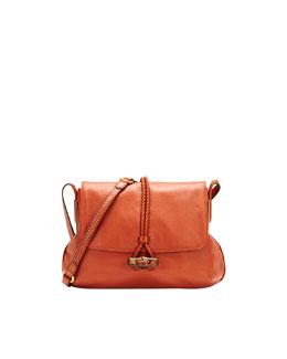 Gucci Hip Bamboo Leather Flap Shoulder Bag, Burnt Orange