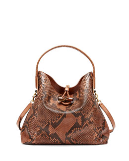 Gucci Hip Bamboo Python Shoulder Bag, Cognac