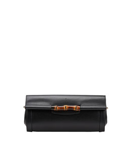 Gucci Bamboo Leather Clutch Bag, Nero