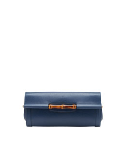 Gucci Bamboo Leather Clutch Bag, Uniform Blue