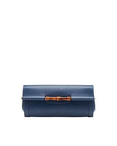 Gucci Bamboo Leather Clutch Bag, Uniform Blue