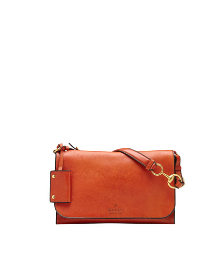 Harness Leather Shoulder Bag, Rust Orange