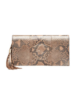 Gucci Soho Python Clutch Bag, Pearl Golden Pink