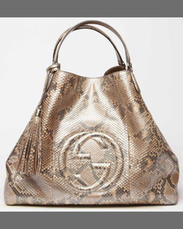 Gucci Soho Large Python A-Shape Tote Bag, Pearl Gold Pink
