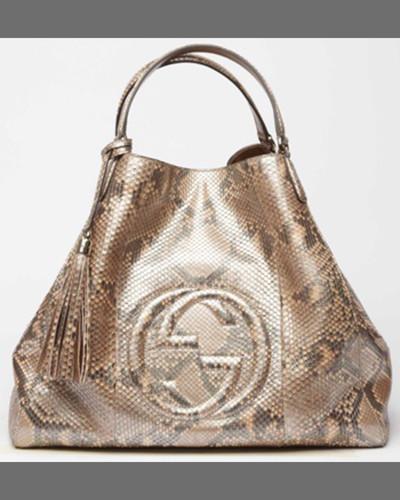 Gucci Soho Large Python A-Shape Tote Bag, Uniform Blue