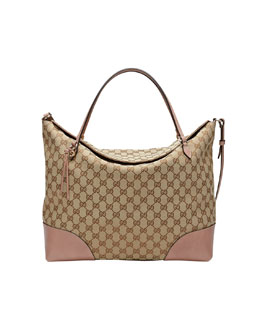 Gucci Bree Original GG Canvas Large Tote Bag, Beige/Dark Cipria