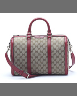 Gucci Boston Vintage Web Bowler Bag, Beige/Blue Navy
