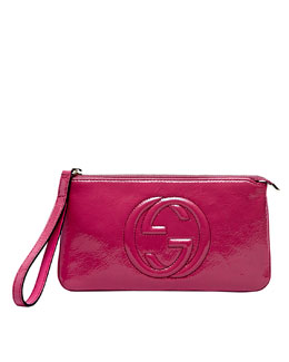 Gucci Soho Patent Leather Wristlet, Bright Bougainvillea